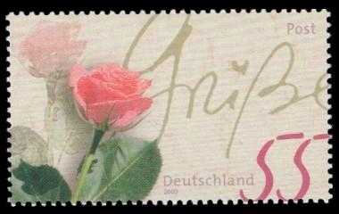 55 Ct Briefmarke: Serie Post, Rosengruß