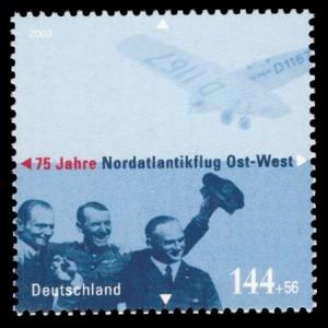 144 + 56 Ct Briefmarke: 75 Jahre Nordatlantikflug Ost-West