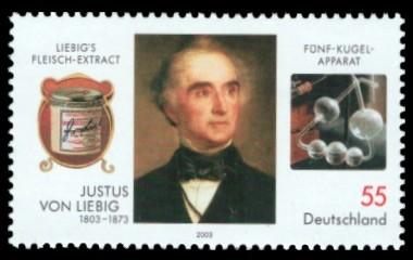 55 Ct Briefmarke: 200. Geburtstag Justus von Liebig