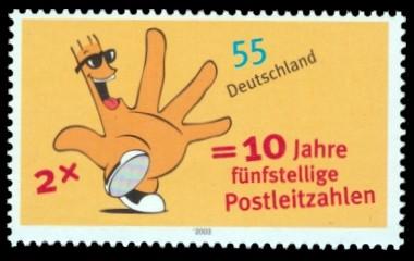 55 Ct Briefmarke: Post 2003, 10 Jahre fünfstellige Postleitzahlen