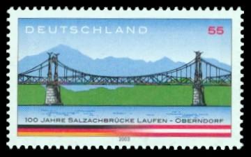 55 Ct Briefmarke: 100 Jahre Salzachbrücke