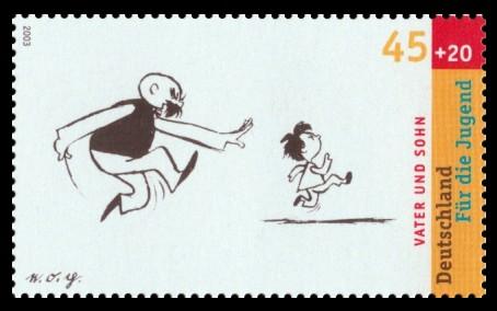45 + 20 Ct Briefmarke: Für die Jugend 2003, Vater und Sohn