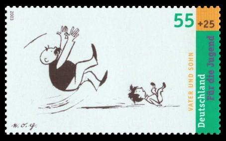 55 + 25 Ct Briefmarke: Für die Jugend 2003, Vater und Sohn