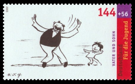 144 + 56 Ct Briefmarke: Für die Jugend 2003, Vater und Sohn