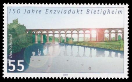 55 Ct Briefmarke: 150 Jahre Enzviadukt Bietigheim