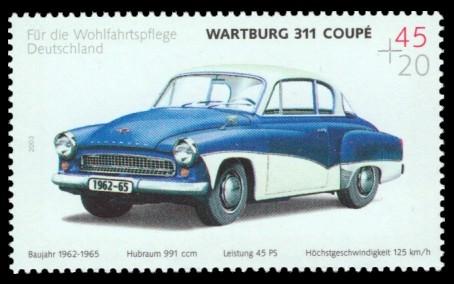 45 + 20 Ct Briefmarke: Wohlfahrtsmarke 2003, Automobile