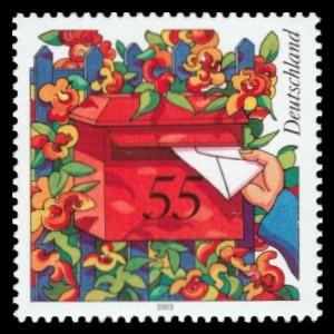 55 Ct Briefmarke: Serie Post 2003, ländlicher Hausbriefkasten