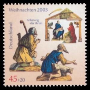 45 + 20 Ct Briefmarke: Weihnachten 2003, Anbetung der Hirten