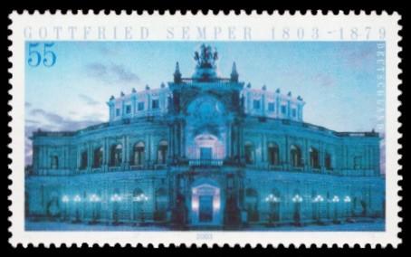 55 Ct Briefmarke: 200. Geburtstag Gottfried Semper