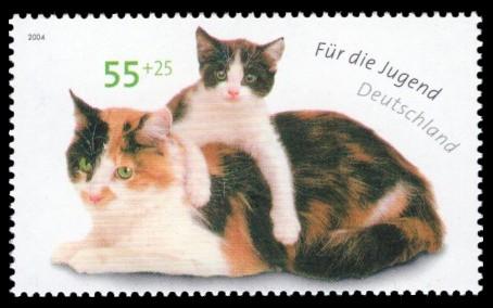 55 + 25 Ct Briefmarke: Für die Jugend 2004, Katzen