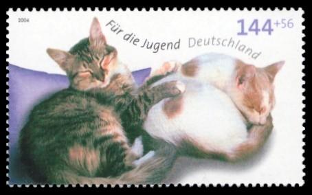 144 + 56 Ct Briefmarke: Für die Jugend 2004, Katzen
