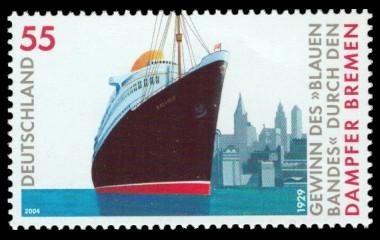 55 Ct Briefmarke: 1929 Gewinn des Blauen Bandes durch den Dampfer Bremen