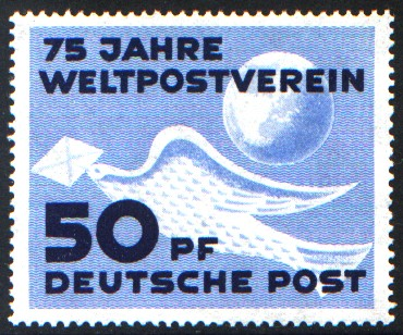 50 Pf Briefmarke: 75 Jahre Weltpostverein
