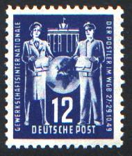 12 Pf Briefmarke: Gründungskonferenz der Internationalen Gewerkschaftsvereinigung für Post im Weltgewerkschaftsbund