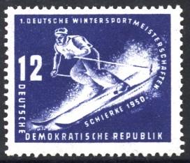 12 Pf Briefmarke: Erste Wintersportmeisterschaft der DDR in Schierke