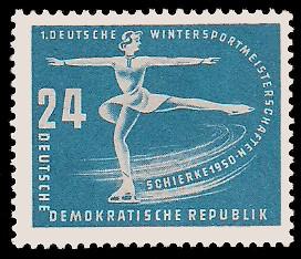 24 Pf Briefmarke: Erste Wintersportmeisterschaft der DDR in Schierke
