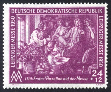 24 + 12 Pf Briefmarke: Leipziger Messe 1950