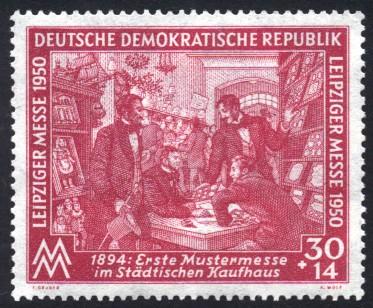 30 + 14 Pf Briefmarke: Leipziger Messe 1950