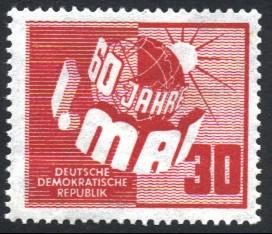 30 Pf Briefmarke: 60 Jahre Tag der Arbeit - 1.Mai