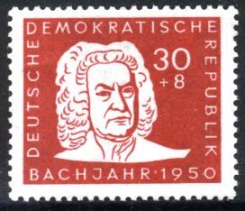 30 + 8 Pf Briefmarke: Bachjahr 1950, Bach-Porträt