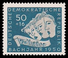 50 + 16 Pf Briefmarke: Bachjahr 1950, Masken