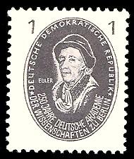 1 Pf Briefmarke: 250 Jahre Deutsche Akademie der Wissenschaften zu Berlin, Euler