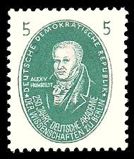 5 Pf Briefmarke: 250 Jahre Deutsche Akademie der Wissenschaften zu Berlin, A.Humboldt
