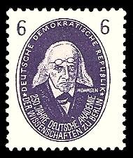 6 Pf Briefmarke: 250 Jahre Deutsche Akademie der Wissenschaften zu Berlin, Mommsen