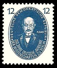 12 Pf Briefmarke: 250 Jahre Deutsche Akademie der Wissenschaften zu Berlin, Planck