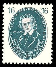 16 Pf Briefmarke: 250 Jahre Deutsche Akademie der Wissenschaften zu Berlin, J.Grimm