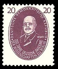 20 Pf Briefmarke: 250 Jahre Deutsche Akademie der Wissenschaften zu Berlin, Nernst