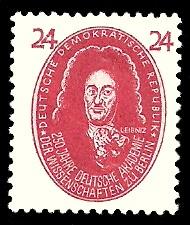 24 Pf Briefmarke: 250 Jahre Deutsche Akademie der Wissenschaften zu Berlin, Leibniz