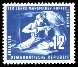 12 Pf Briefmarke: 750 Jahre Mansfelder Kupferbergbau