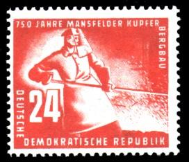 24 Pf Briefmarke: 750 Jahre Mansfelder Kupferbergbau