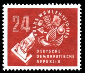 24 Pf Briefmarke: Volkswahlen am 15.10.1950