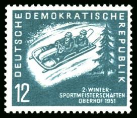 12 Pf Briefmarke: 2.Wintersportmeisterschaft der DDR in Oberhof