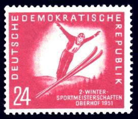 24 Pf Briefmarke: 2.Wintersportmeisterschaft der DDR in Oberhof