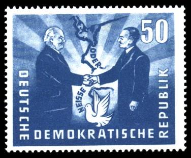 50 Pf Briefmarke: Deutsch-Polnische Freundschaft, Oder-Neisse-Friedensgrenze
