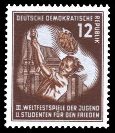 12 Pf Briefmarke: III. Weltfestival der Jugend und Studenten für den Frieden