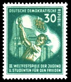 30 Pf Briefmarke: III. Weltfestival der Jugend und Studenten für den Frieden