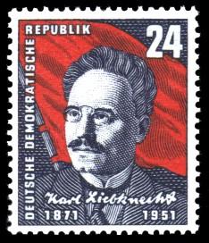 24 Pf Briefmarke: 80. Geburtstag von Karl Liebknecht