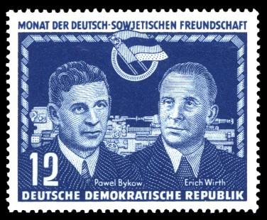 12 Pf Briefmarke: Monat der Deutsch-Sowjetischen Freundschaft