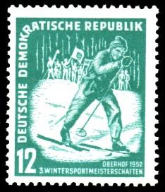 12 Pf Briefmarke: 3. Wintersportmeisterschaften Oberhof 1952