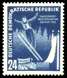 24 Pf Briefmarke: 3. Wintersportmeisterschaften Oberhof 1952