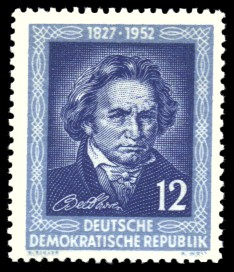12 Pf Briefmarke: 125. Todestag von Ludwig van Beethoven