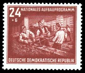 24 + 6 Pf Briefmarke: Nationales Aufbauprogramm