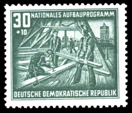 30 + 10 Pf Briefmarke: Nationales Aufbauprogramm