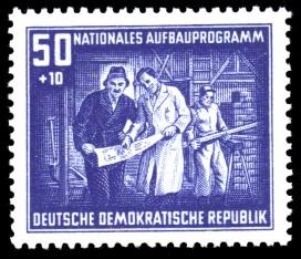 50 + 10 Pf Briefmarke: Nationales Aufbauprogramm