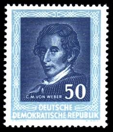 50 Pf Briefmarke: Berühmte Komponisten, Händelfest Halle, Weber