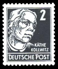 2 Pf Briefmarke: Käthe Kollwitz, Freimarke, Persönlichkeiten aus Politik, Kunst und Wissenschaft